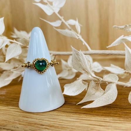 Bague LA2L Pivot Coeur Agate Vert