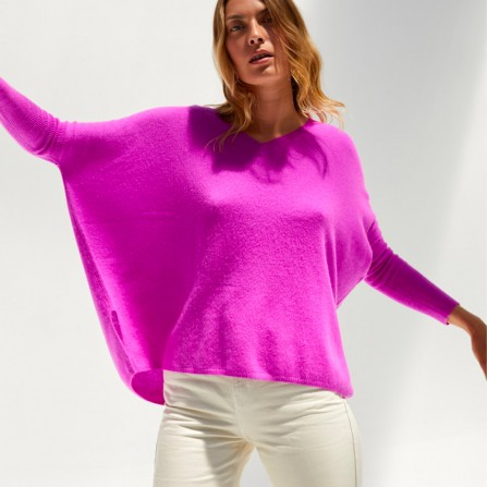 Poncho ABSOLUT CASHMERE Camille Violet Fluo