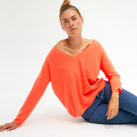 Pull ABSOLUT CASHMERE Angele Corail Fluo