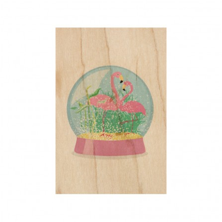 Carte Postale WOODHI Bois d'Erable Snow Globes Flamingos