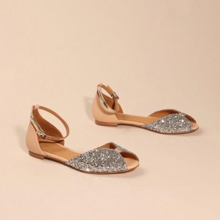 Sandale EMMAGO Juliette Glitter Silver & Calf Suede