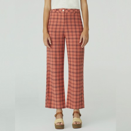 Pantalon NICE THINGS Checked Linen Long WWK084 437