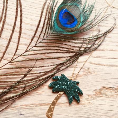 Collier CAROLINE NAJMAN Kuchi Palm Tree XL Swarovski Vert