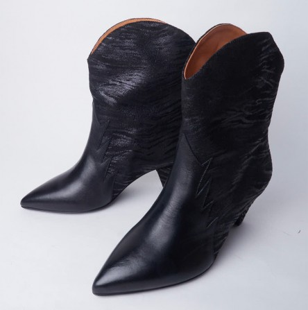 Boots KA MASSALIA Maggie Velours Noir & Vit Noir