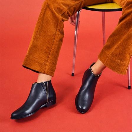 Boots MR MOUSTACHE Jeanne B Cuir Noir & Doré