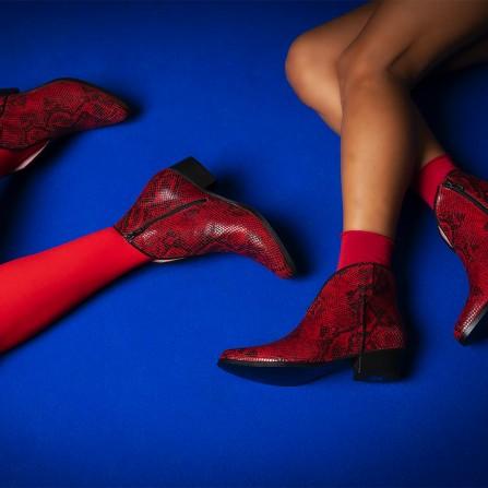 Boots CORALIE MASSON Thya Python Retro Flamme Chevre Velours Noir