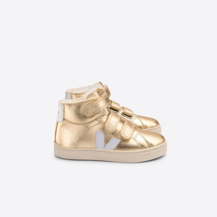 Basket KIDS VEJA Esplar Mid Chromefree Leather Platin