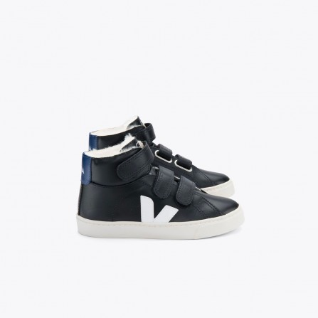 Basket KIDS VEJA Esplar Mid Chromefree Leather Black White
