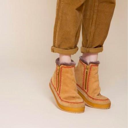 Boots LAIDBACK LONDON Setsu Crochet Crepe Saffron Suede
