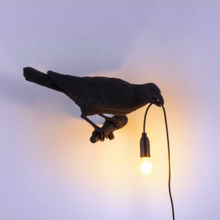 Lampe SELETTI 14728 Bird Looking Right Outddor Black