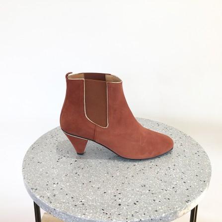 Boots Talon KA MASSALIA Cybele Velours Métal Brique Or
