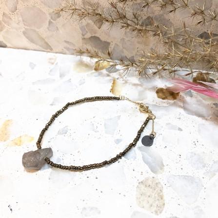 Bracelet L SONGE BRMK Minéral Kaki Labradorite