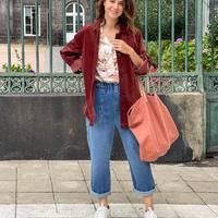 Look frais et lumineux 🌺🌸  Association des matières avec la veste velours, la chemise pyjama @nicethingspalomas et le jean boyfriend @hod_paris ! 👖  Quelle est votre coupe de jean favorite ?  Sac @lacerisesurlegateau_annehubert Baskets @rivecour  #clermontferrand #clermontfd #jalousesstore #conceptstore #siteenligne #clfd #style #ootd #outfit #mode #fashion #pretaporter #eshop #ecommerce #boutiqueenligne